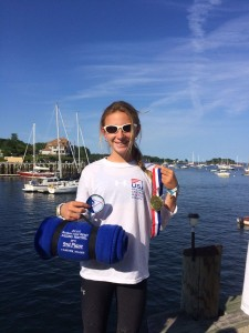 Terra Ehrhart of Mount Desert with her second-place in the Optimist class at the Junior Olympic Sailing Festival held last week at the Camden Yacht Club. PHOTO COURTESY OF LISA EHRHART