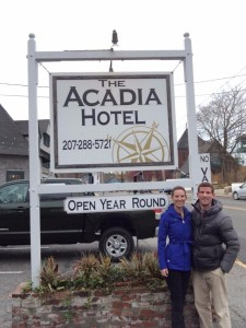 Peter and Christina Hastings stand in front of Acadia Hotel, a year-round boutique hotel in downtown Bar Harbor. PHOTO COURTESY OF THE HASTINGS